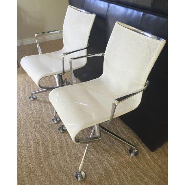 Alias White Mesh Chrome Swivel Armchairs - Pair - Image 3 of 5