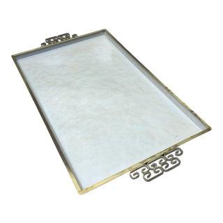 Kyes White Enameled Metal Serving Tray