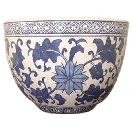 Image of Blue and White Chinoiserie Oriental Planter