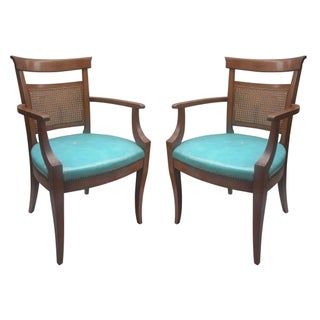 Vintage Caned-Back Armchairs - A Pair