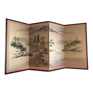 Vintage Japanese Four Panel Folding Screen