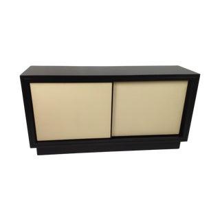 Modern Leather Media Cabinet