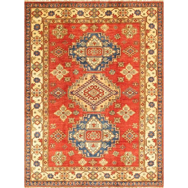"""Image of Kazak Lamb's Wool Rug- 4'8"""" X 6'5"""""""