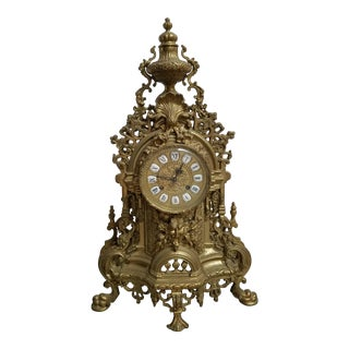 Vintage Italian Brass Imperial Mantle Clock