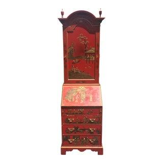 Antique Baker, Knapp & Tubbs Red Chinoiserie Secretary Cabinet