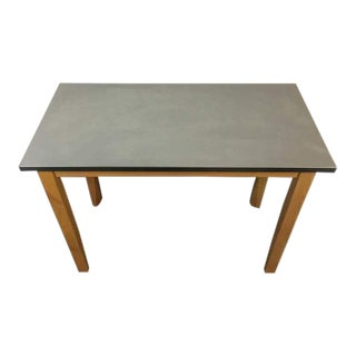 Contemporary Brushed Metal & Carved Oak Work Table