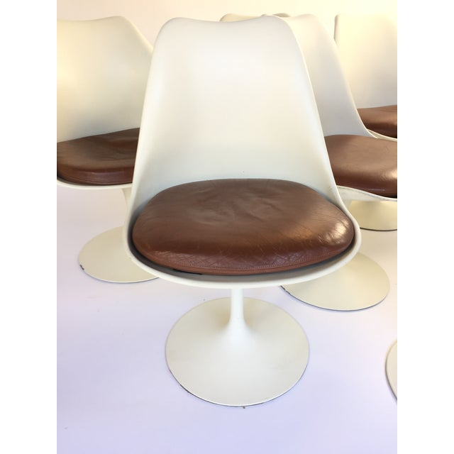 Eero Saarinen Leather Tulip Chairs - Set of 6 - Image 5 of 9