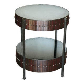 Thomas & Gray Two Tired Beaded Drum Accent Lamp Table (Pair Available)