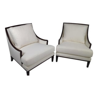 Robert Allen Chenille Upholstered Lounge Chairs - A Pair