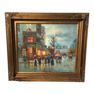 European Street Scene Impressionist Oil Painting