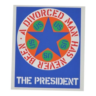 "C.1997 Robert Indiana ""A Divorced Man Has Never Been President"" Print"