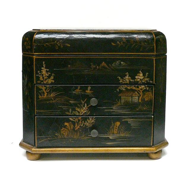 Handmade Chinese Black & Golden Jewelry Box - Image 7 of 7