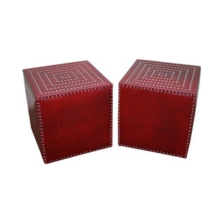Lee Industries Red Leather Cube Ottomans - A Pair