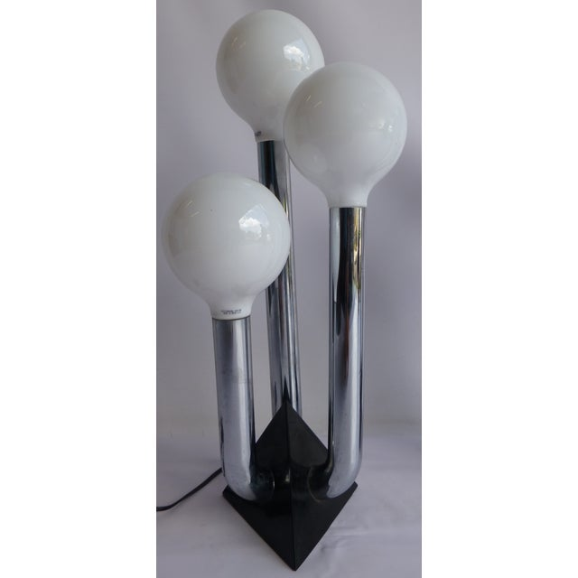 Mid-Century Modern Chrome 70's Lamps- A Pair - Image 4 of 8