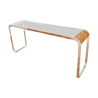 Mid-Century Glass and Chrome Sofa Console Table