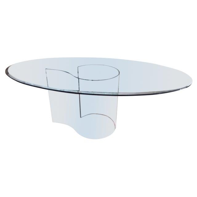 Fiam italia italian oval glass dining table chairish for Oval glass dining table