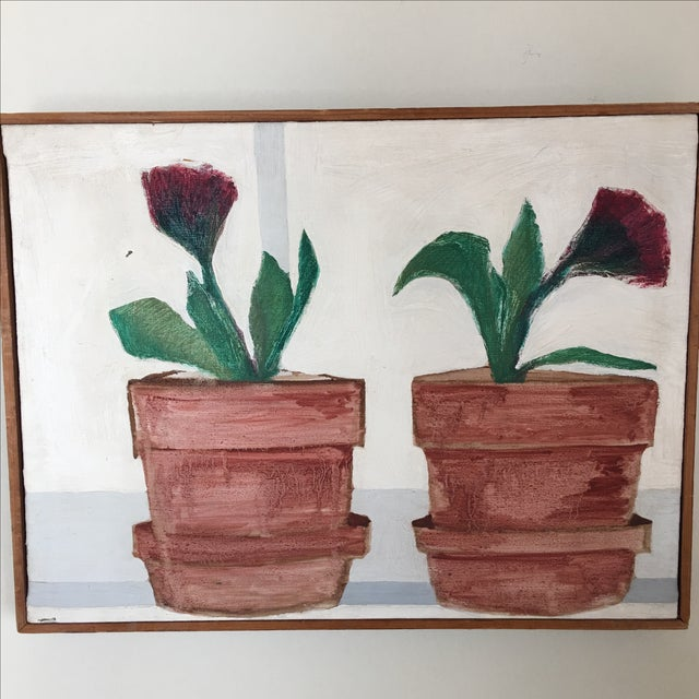 Mid-Century Flower Pot Painting - Image 8 of 10