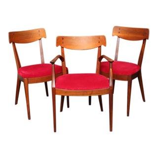 "Mid Century Modern 6 Drexel ""Declaration"" Line Walnut Dining Chairs. 1950s"