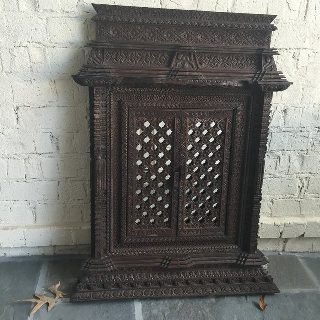 Hand Carved Nepalese Mirror - Image 3 of 8