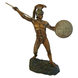 Early 1900s Bronze Greek Warrior by H. Eichberg