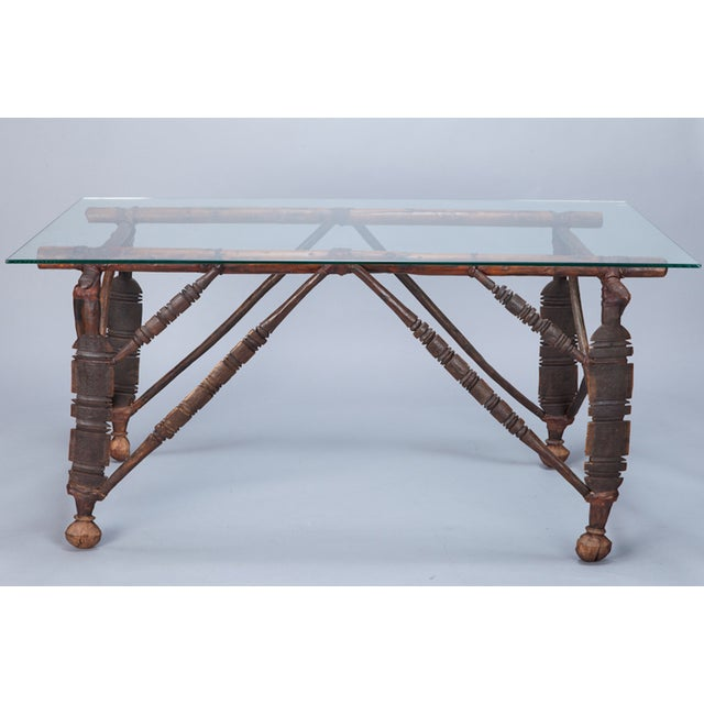 North African Carved Wood Table With Glass Top - Image 3 of 8