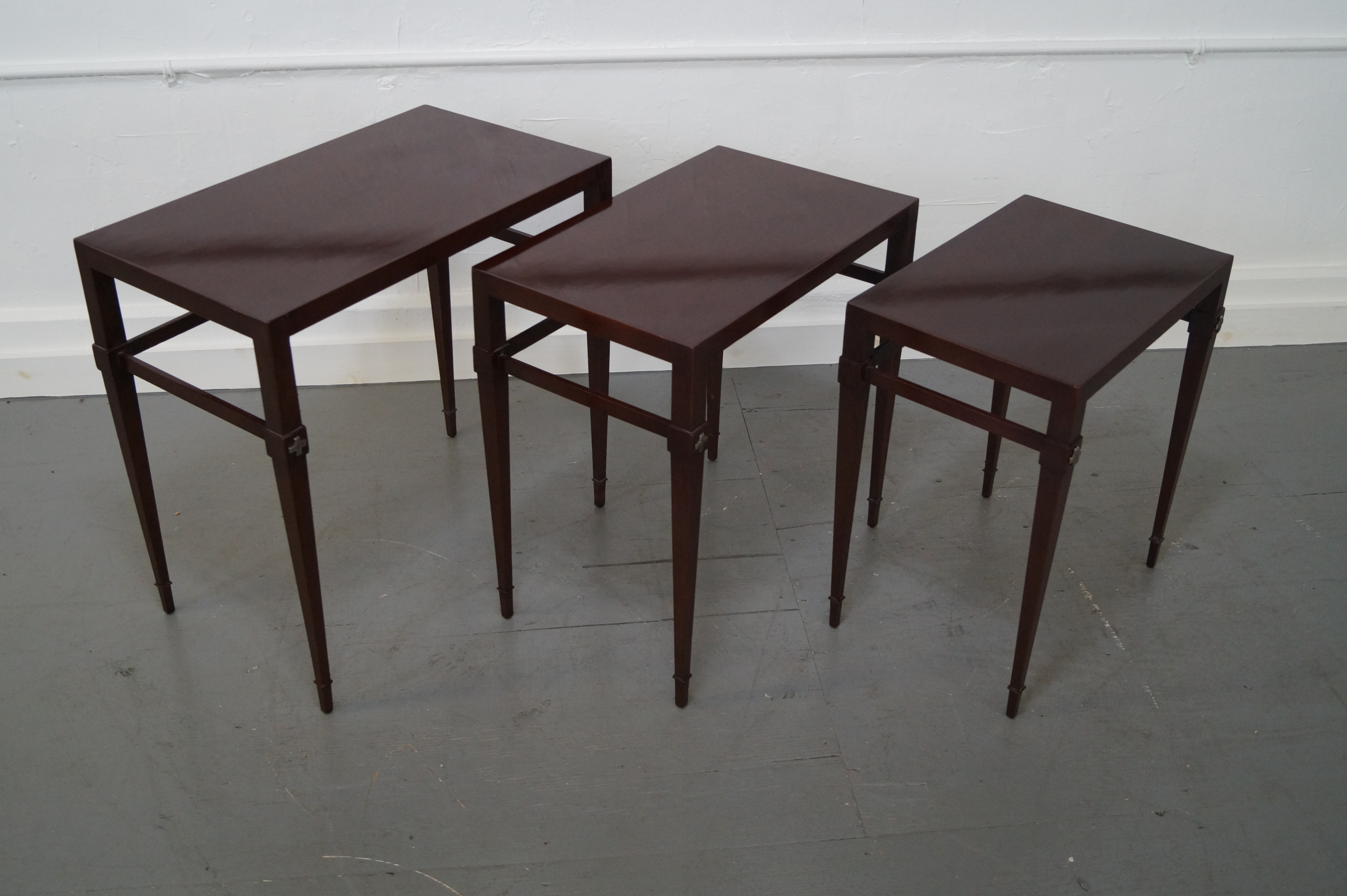 Great Tommi Parzinger Mahogany Nesting Tables   Set Of 3   Image 4 Of 10