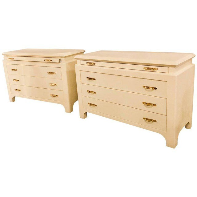 Karl Springer Style Linen Wrapped Commodes or Chests - A Pair - Image 11 of 11