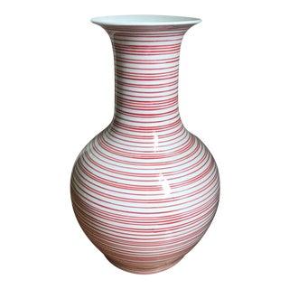 Red & White Striped Ceramic Vase