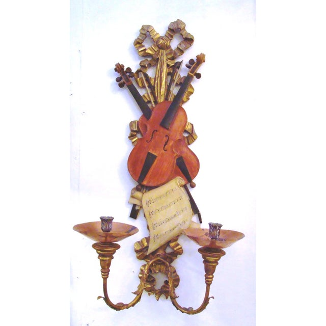 Italian Violin Sconces - Pair - Image 3 of 11
