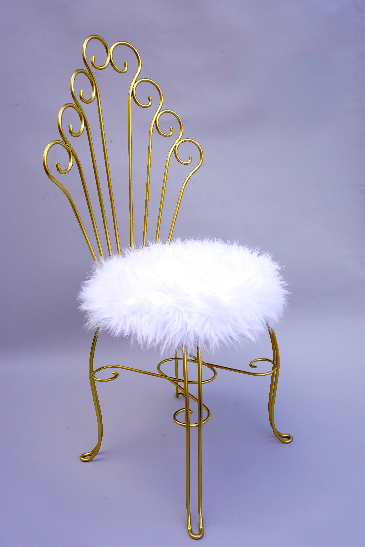 Beautiful Vintage Hollywood Regency Gold Metal U0026 Faux Fur Vanity Chair   Image 4 Of 11