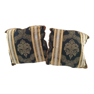 Black Gold Damask Pillow Covers - A Pair