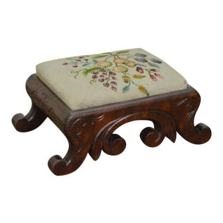 Antique Mahogany Empire Style Small Needlepoint Foot Stool