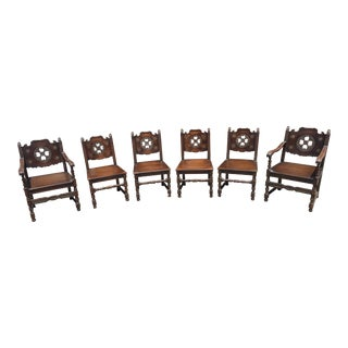 Carved Spanish Mediterranean Chairs - Set of 6