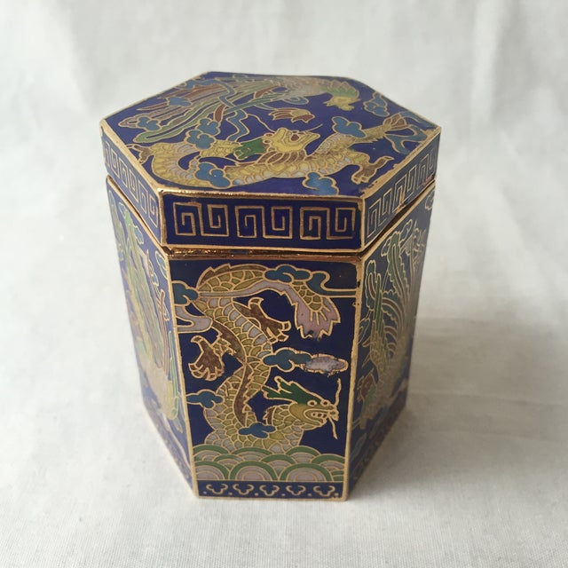 Vintage Cloisonné Hexagon Box - Image 2 of 5