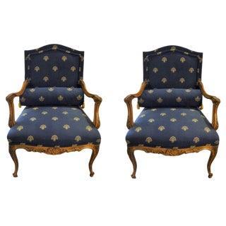 Custom Louis XV Style Arm Chairs- A Pair
