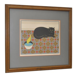 "Will Barnet ""Cat and Canary"" Pencil Signed Lithograph"