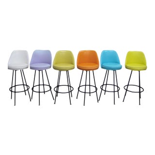 Vintage Mid Century Atomic Bar Stools - Set of 6