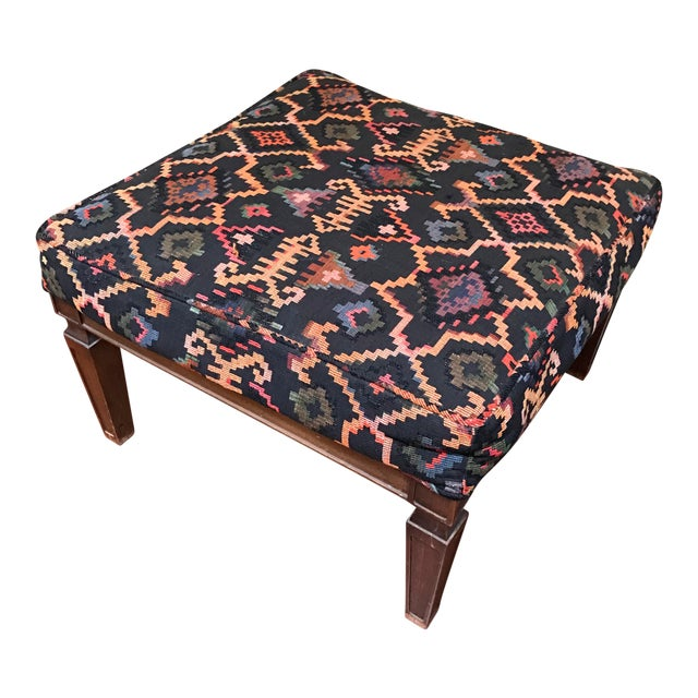 Vintage Woven Upholstered Ottoman - Image 1 of 7