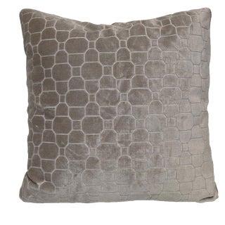 Kravet Beige Mosaic Velvet Pillow