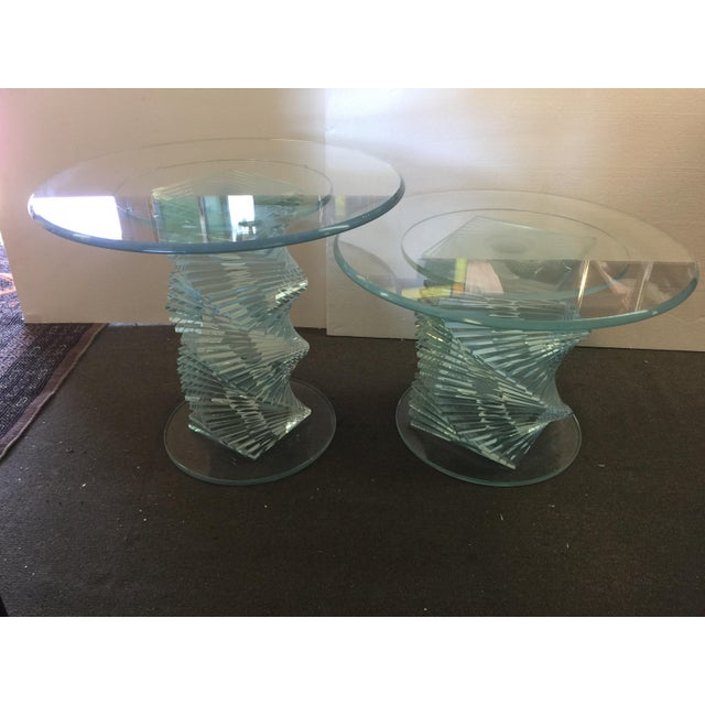 Glass Spiral Side Tables - A Pair - Image 2 of 7