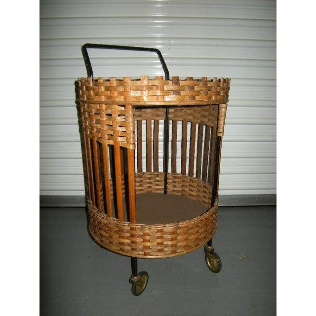 Mid-Century Dutch Wicker Bar Cart - Image 2 of 4