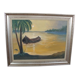Florida Coast With Canoe Oil Painting
