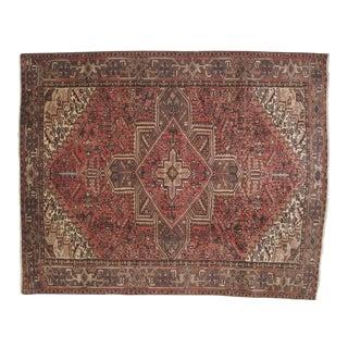 """Vintage Persian Heriz Brown Wool Rug - 9'1"""" x 7'3"""""""