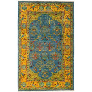 """New Blue Hand-Knotted Rug - 4'1"""" X 6'7"""""""