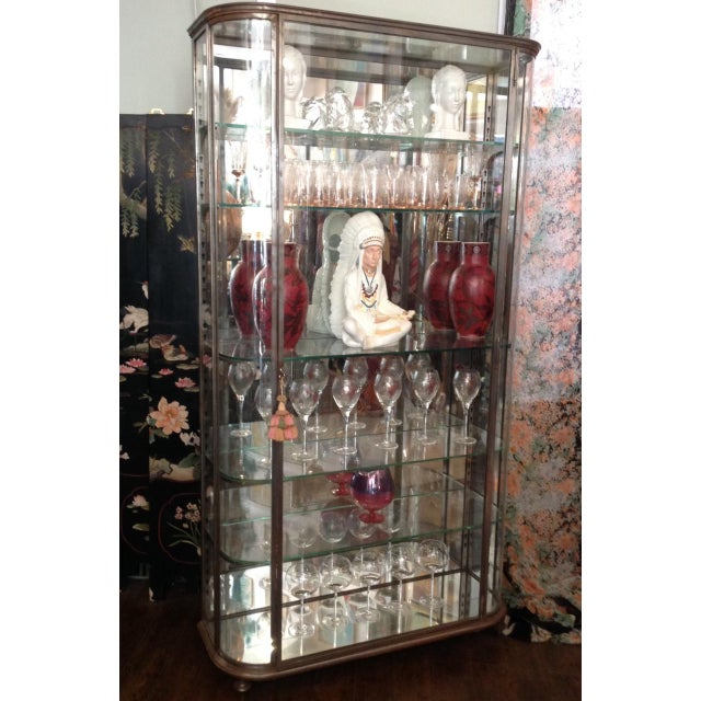 art deco glass steel vitrine display cabinet chairish. Black Bedroom Furniture Sets. Home Design Ideas