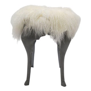 Sheepskin Stool with Aluminum Legs