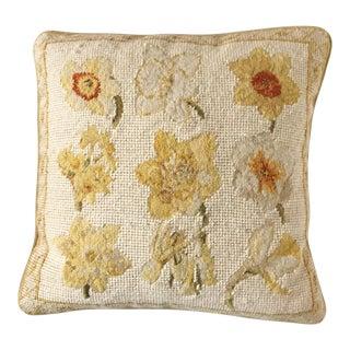 Chelsea Textiles Daffodil Motif Wool Needlepoint Pillow