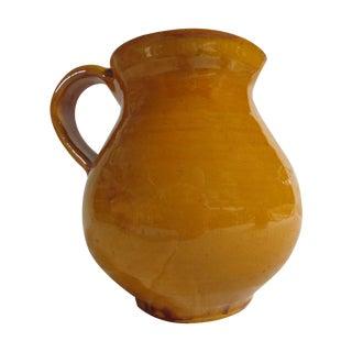 French Yellow Glazed Pottery Pitcher