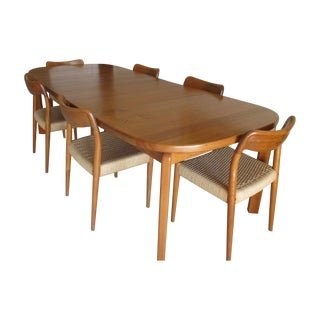 Danish Solid Teak Dining Set with 6 Chairs