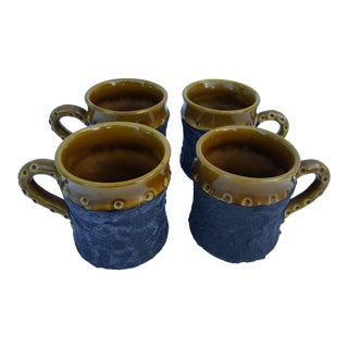 1970'S Italian Studio Pottery Coffee Mugs - Set of 4
